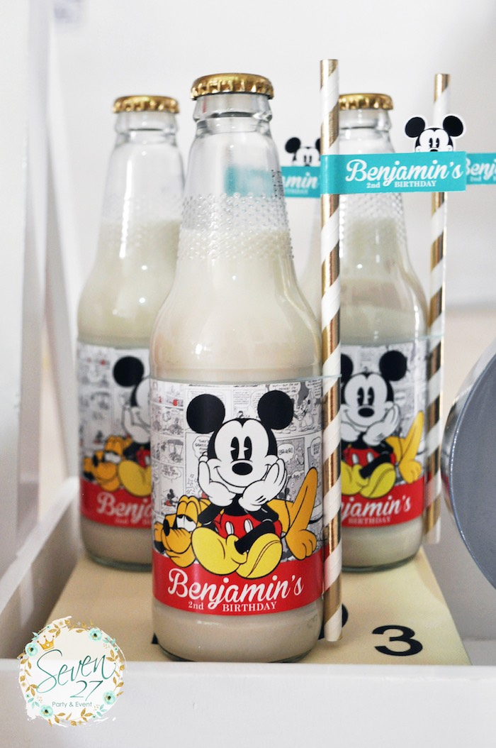 Glass drink bottles from a Vintage Mickey Mouse Themed Birthday Party via Kara's Party Ideas | KarasPartyIdeas.com (37)