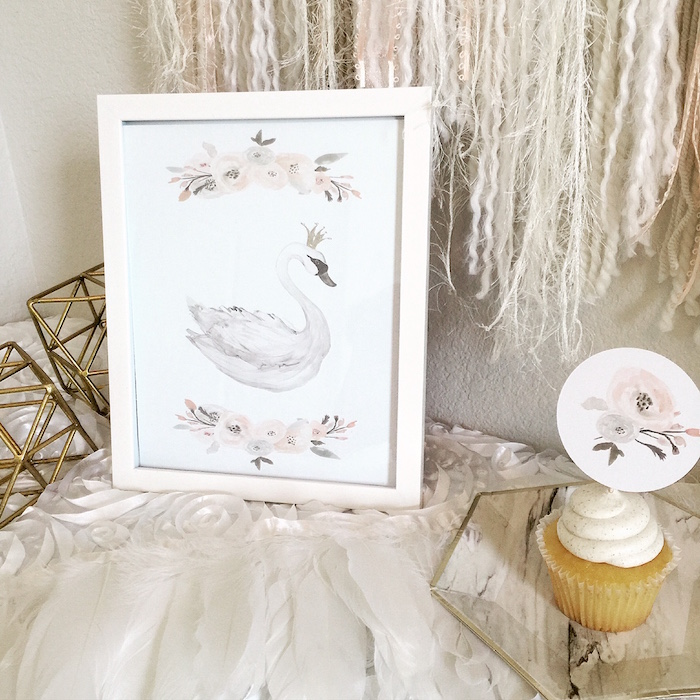 Swan party signage from a Whimsical Chic Swan Themed Birthday Party via Kara's Party Ideas - KarasPartyIdeas.com (12)
