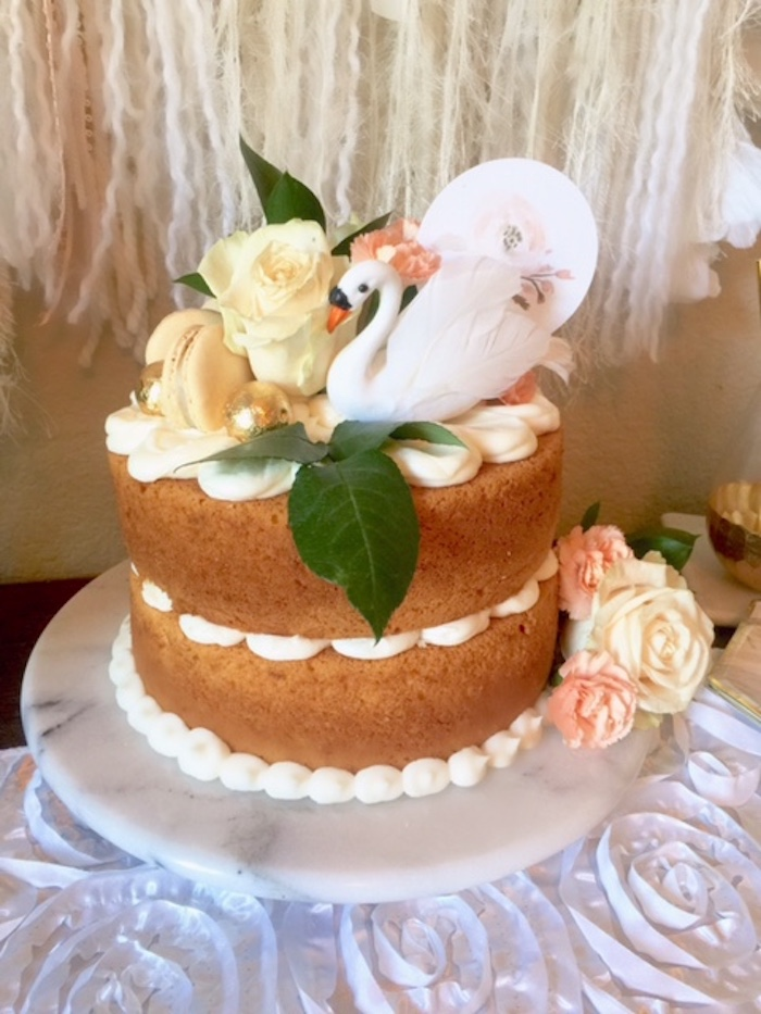 Cake from a Whimsical Chic Swan Themed Birthday Party via Kara's Party Ideas - KarasPartyIdeas.com (11)