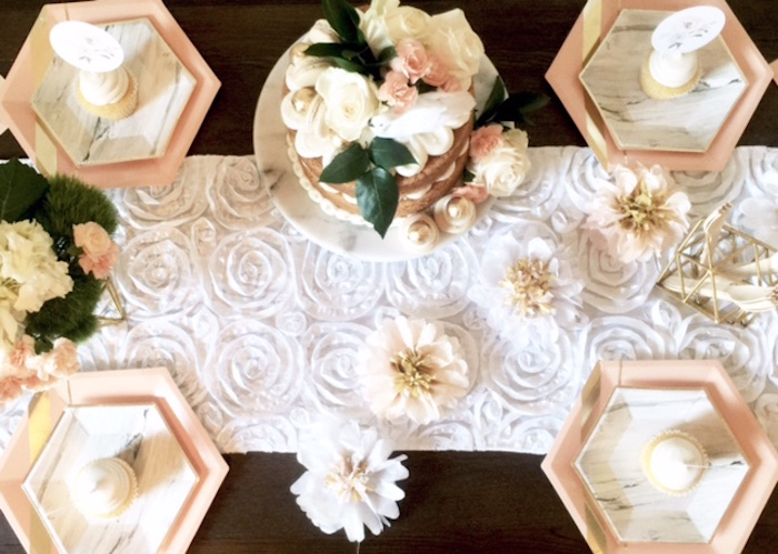 Party tabletop from a Whimsical Chic Swan Themed Birthday Party via Kara's Party Ideas - KarasPartyIdeas.com (9)