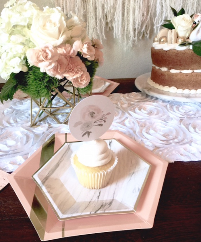 Cupcake on a marble plate from a Whimsical Chic Swan Themed Birthday Party via Kara's Party Ideas - KarasPartyIdeas.com (8)