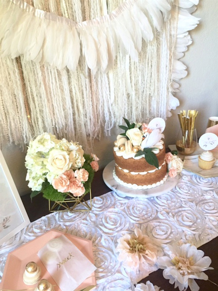 Sweet table details from a Whimsical Chic Swan Themed Birthday Party via Kara's Party Ideas - KarasPartyIdeas.com (6)