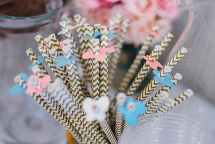 Butterfly topped straws from a Whimsical Fairies & Butterflies Birthday Party via Kara's Party Ideas KarasPartyIdeas.com (23)
