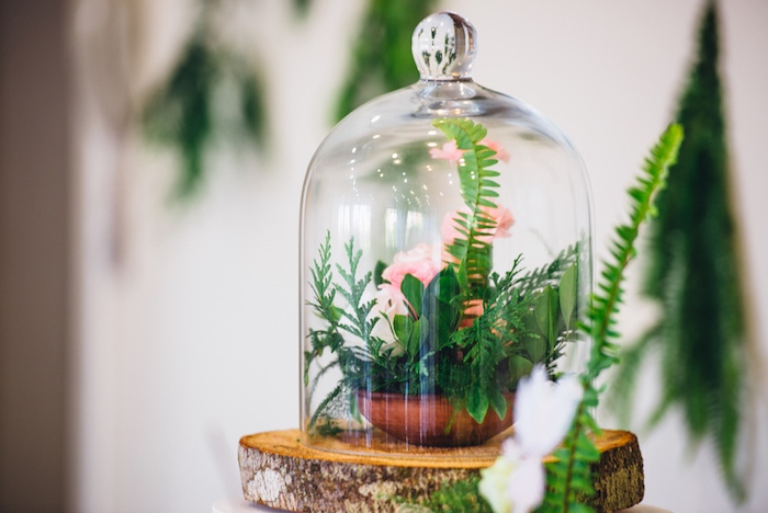 Beautiful florals inside a glass dome from a Whimsical Fairies & Butterflies Birthday Party via Kara's Party Ideas KarasPartyIdeas.com (12)