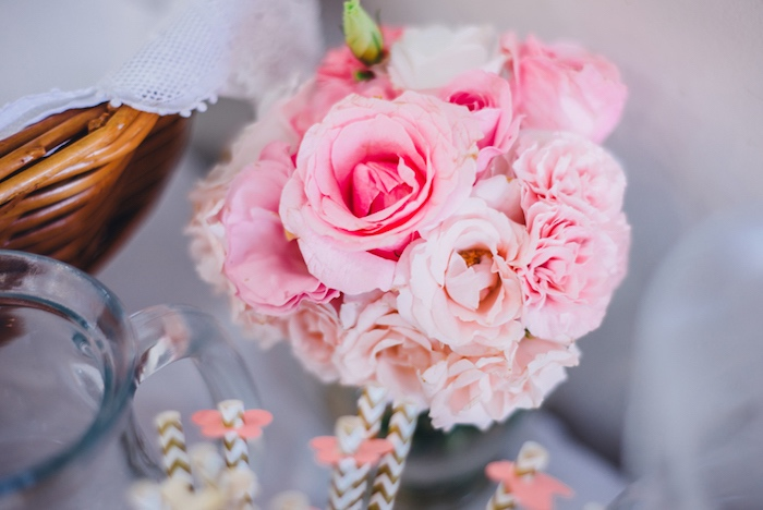 Pink floral arrangement from a Whimsical Fairies & Butterflies Birthday Party via Kara's Party Ideas KarasPartyIdeas.com (30)