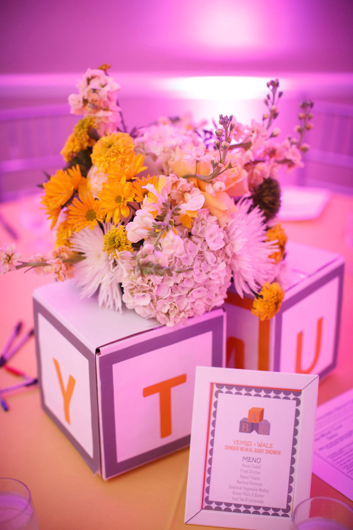 Floral alphabet block table centerpiece from a Yellow & Gray Alphabet Baby Shower + Gender Reveal via Kara's Party Ideas | KarasPartyIdeas.com (33)