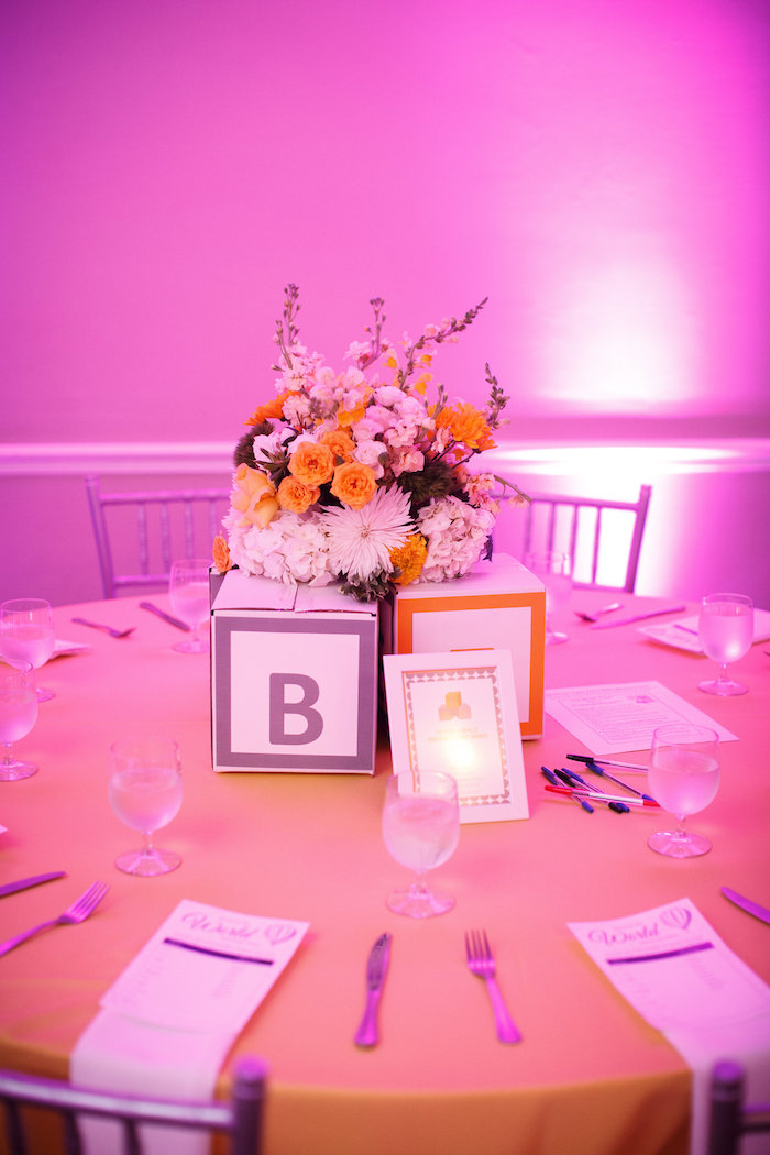 Centerpieces from a Yellow & Gray Alphabet Baby Shower + Gender Reveal via Kara's Party Ideas | KarasPartyIdeas.com (32)