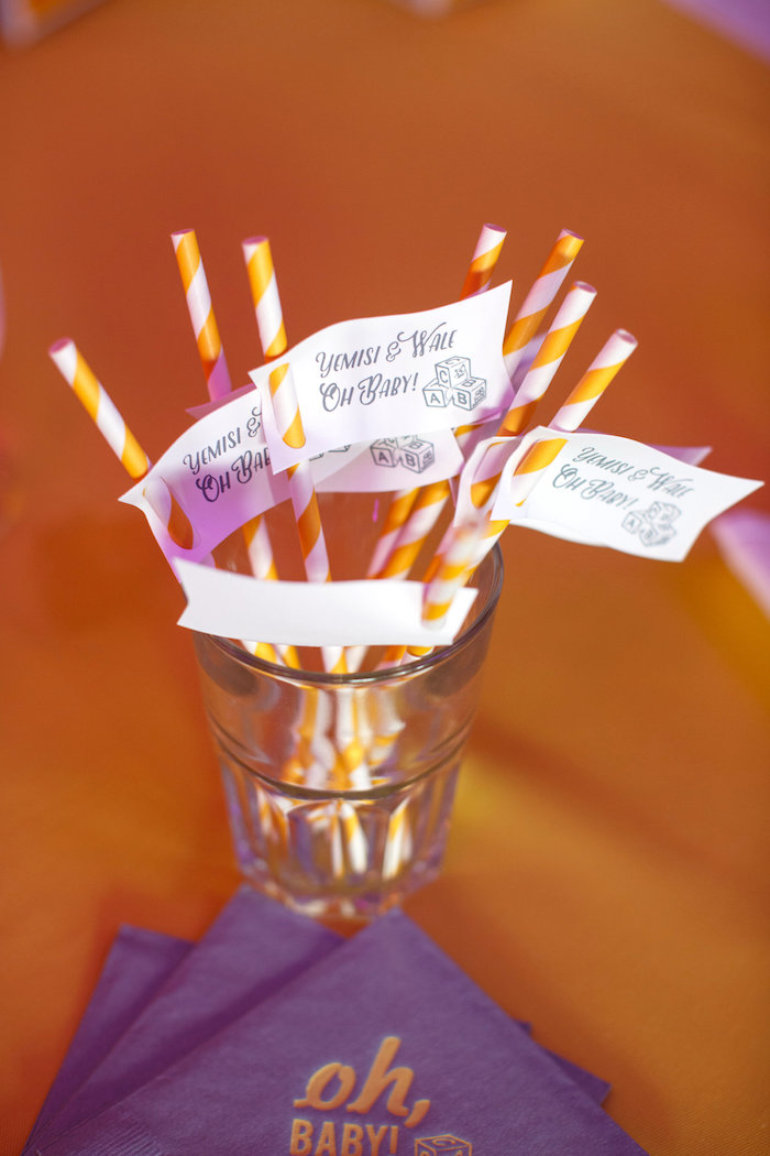 Yellow striped paper straws adorned with custom straw flags from a Yellow & Gray Alphabet Baby Shower + Gender Reveal via Kara's Party Ideas | KarasPartyIdeas.com (27)