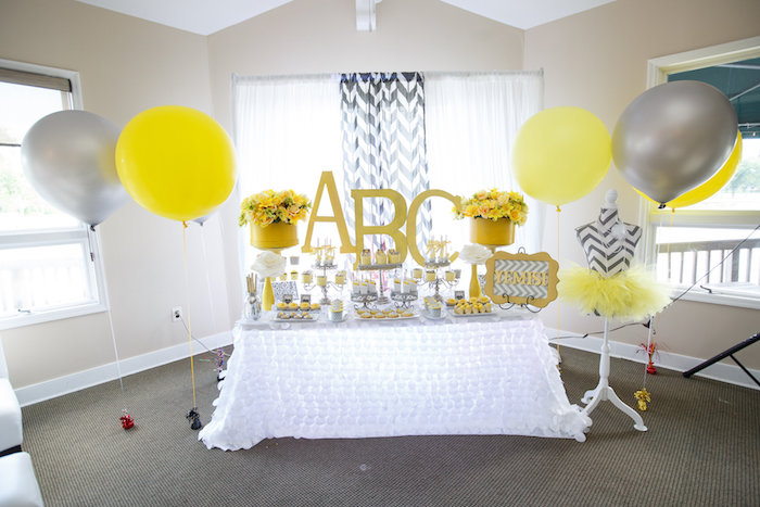 Dessert spread from a Yellow & Gray Alphabet Baby Shower + Gender Reveal via Kara's Party Ideas | KarasPartyIdeas.com (25)