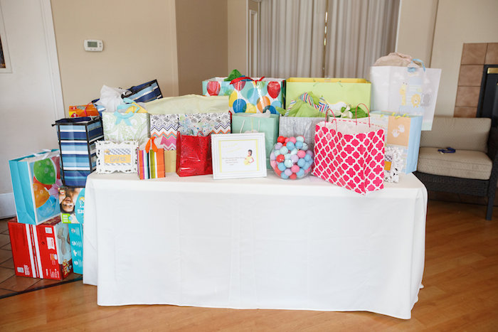Gift table from a Yellow & Gray Alphabet Baby Shower + Gender Reveal via Kara's Party Ideas | KarasPartyIdeas.com (24)