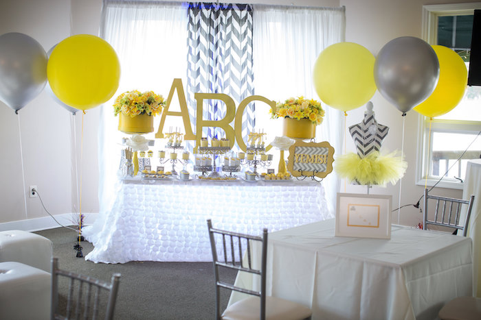 Yellow & Gray Alphabet Baby Shower + Gender Reveal via Kara's Party Ideas | KarasPartyIdeas.com (23)