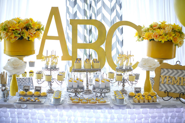 Dessert table from a Yellow & Gray Alphabet Baby Shower + Gender Reveal via Kara's Party Ideas | KarasPartyIdeas.com (22)