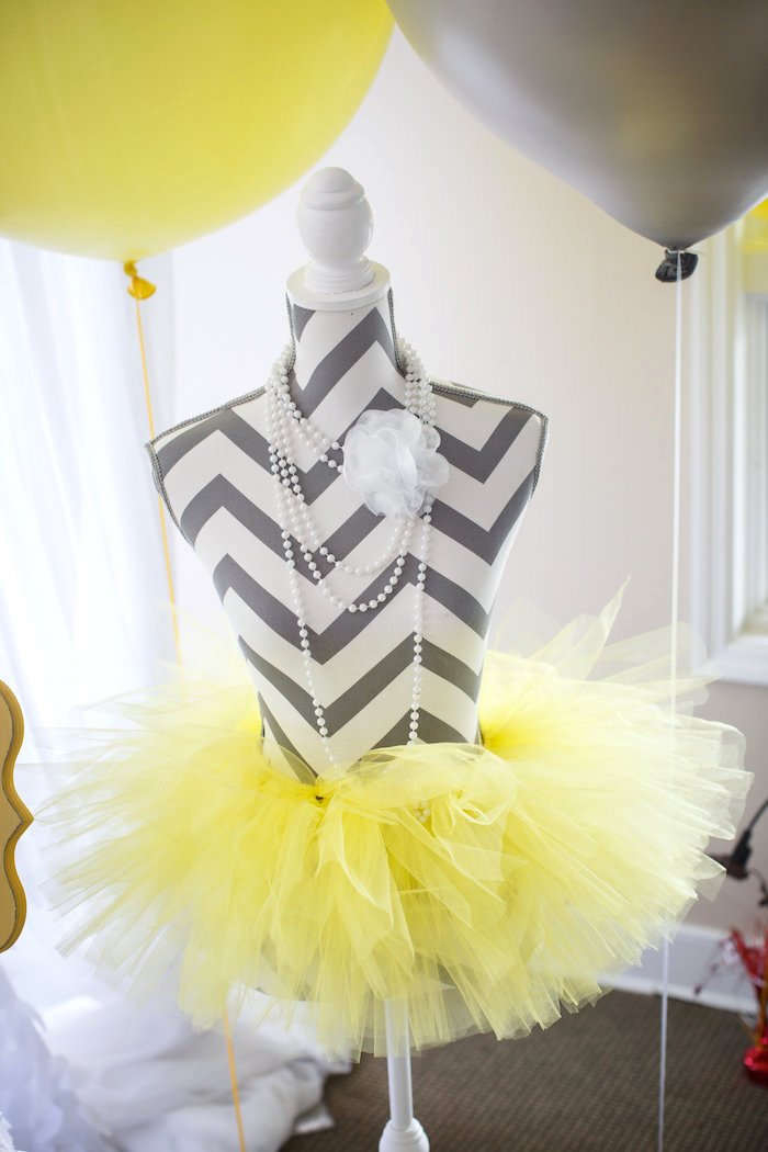 Tutu wearing chevron dress form from a Yellow & Gray Alphabet Baby Shower + Gender Reveal via Kara's Party Ideas | KarasPartyIdeas.com (21)