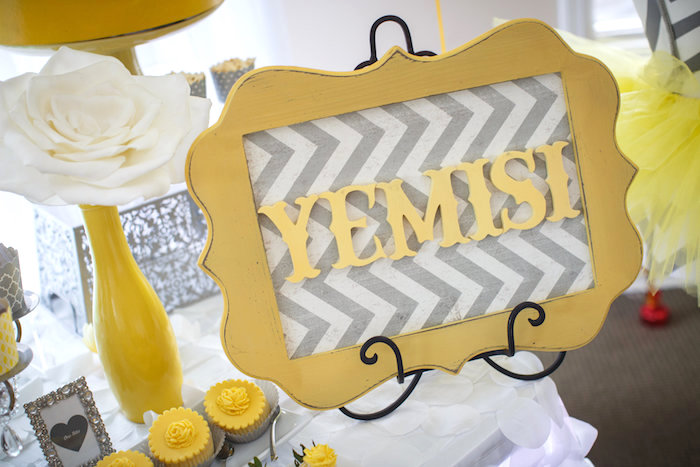Frame decor piece from a Yellow & Gray Alphabet Baby Shower + Gender Reveal via Kara's Party Ideas | KarasPartyIdeas.com (20)