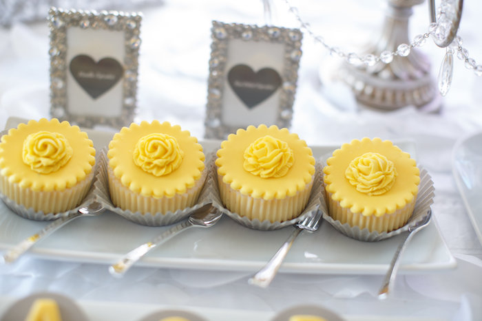 Cupcakes from a Yellow & Gray Alphabet Baby Shower + Gender Reveal via Kara's Party Ideas | KarasPartyIdeas.com (17)