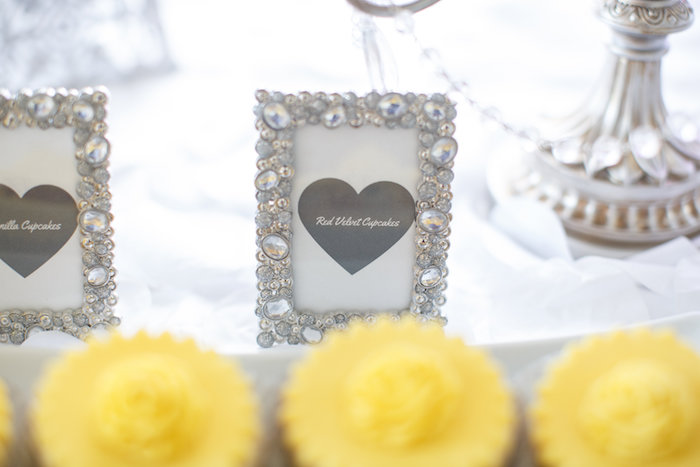 Ornately framed sweet label from a Yellow & Gray Alphabet Baby Shower + Gender Reveal via Kara's Party Ideas   KarasPartyIdeas.com (16)