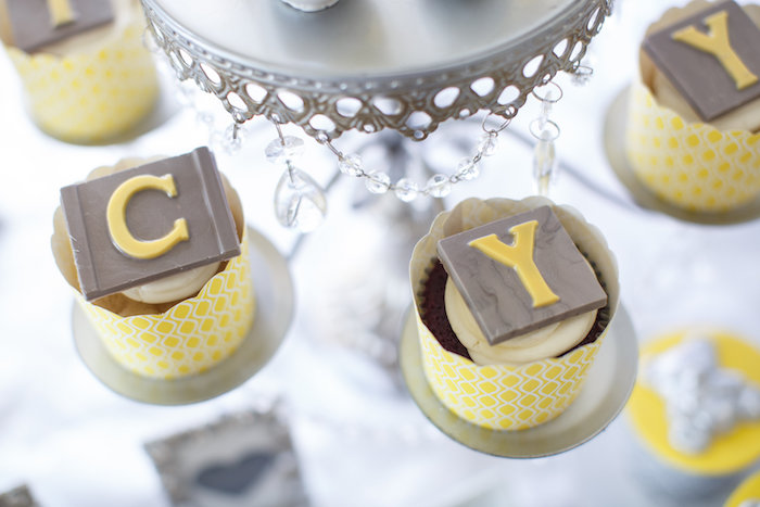 Letter cupcakes from a Yellow & Gray Alphabet Baby Shower + Gender Reveal via Kara's Party Ideas | KarasPartyIdeas.com (15)