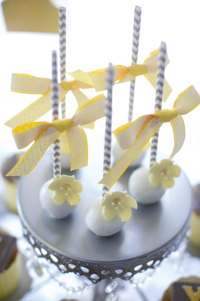 Cake pops from a Yellow & Gray Alphabet Baby Shower + Gender Reveal via Kara's Party Ideas | KarasPartyIdeas.com (14)