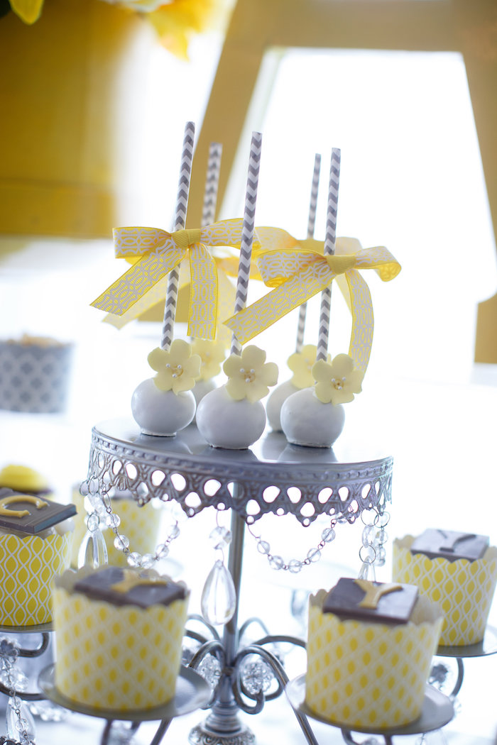 Cake pops and cupcakes from a Yellow & Gray Alphabet Baby Shower + Gender Reveal via Kara's Party Ideas | KarasPartyIdeas.com (13)