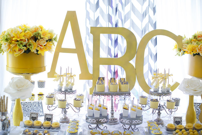 Sweet table from a Yellow & Gray Alphabet Baby Shower + Gender Reveal via Kara's Party Ideas | KarasPartyIdeas.com (12)