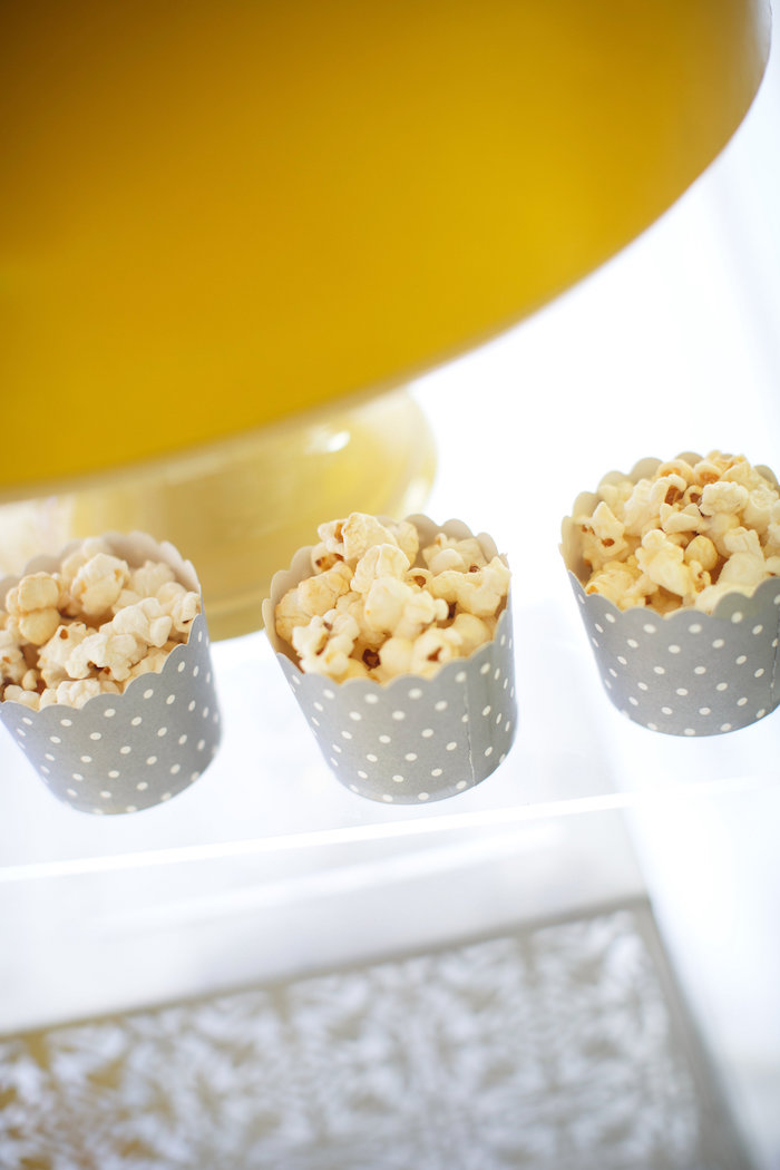 Popcorn cups from a Yellow & Gray Alphabet Baby Shower + Gender Reveal via Kara's Party Ideas | KarasPartyIdeas.com (11)