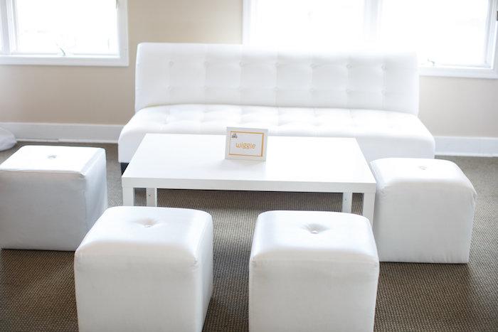 Lounge area from a Yellow & Gray Alphabet Baby Shower + Gender Reveal via Kara's Party Ideas   KarasPartyIdeas.com (9)
