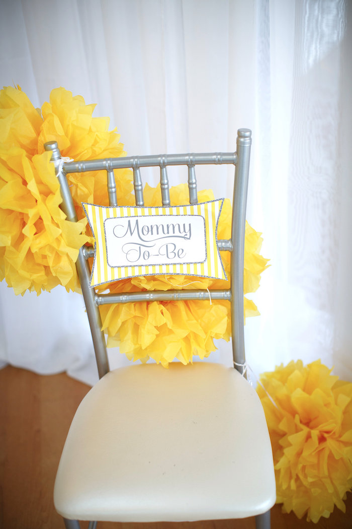 Mom to Be chair from a Yellow & Gray Alphabet Baby Shower + Gender Reveal via Kara's Party Ideas | KarasPartyIdeas.com (7)