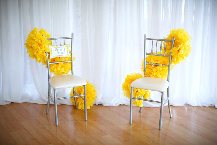 Mom and Dad to Be chair from a Yellow & Gray Alphabet Baby Shower + Gender Reveal via Kara's Party Ideas | KarasPartyIdeas.com (6)