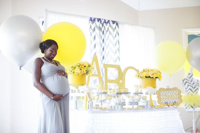 Kara Party Ideas Yellow Gray Alphabet Baby Shower