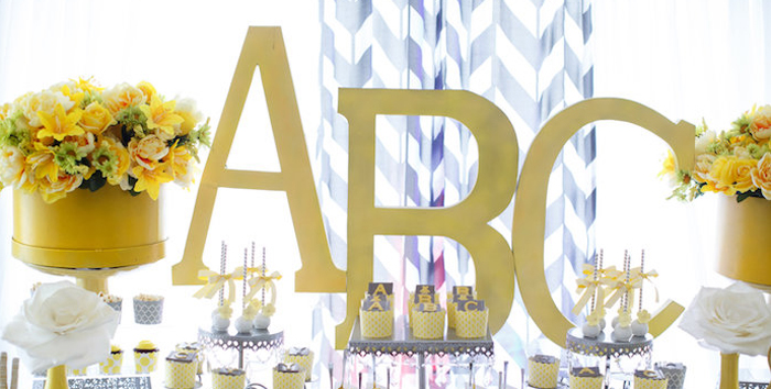 Yellow & Gray Alphabet Baby Shower + Gender Reveal via Kara's Party Ideas | KarasPartyIdeas.com (1)