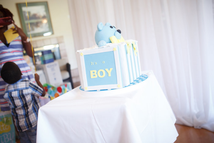 """It's a Boy"" Gender Reveal Cake from a Yellow & Gray Alphabet Baby Shower + Gender Reveal via Kara's Party Ideas 