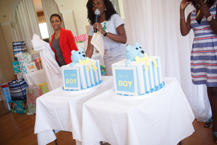 Gender reveal cakes from a Yellow & Gray Alphabet Baby Shower + Gender Reveal via Kara's Party Ideas | KarasPartyIdeas.com (39)