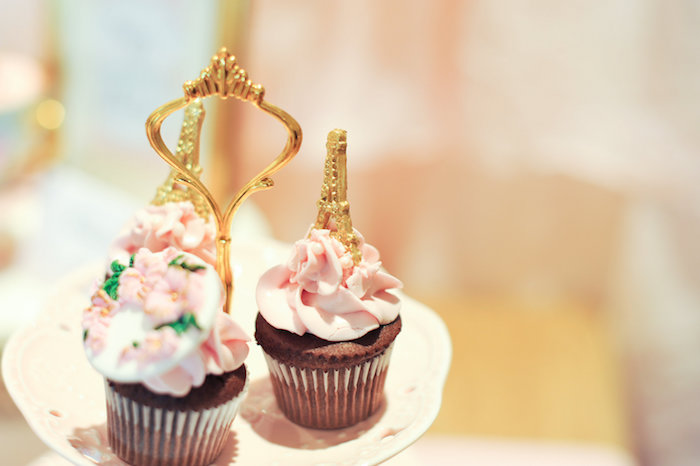 Cupcakes with Gold Eiffel Tower toppers from A Day in Paris Birthday Party on Kara's Party Ideas | KarasPartyIdeas.com (59)