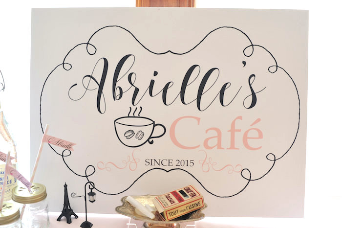 Cafe sign table backdrop from A Day in Paris Birthday Party on Kara's Party Ideas | KarasPartyIdeas.com (46)