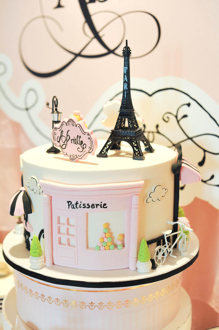 Parisian cake from A Day in Paris Birthday Party on Kara's Party Ideas | KarasPartyIdeas.com (43)