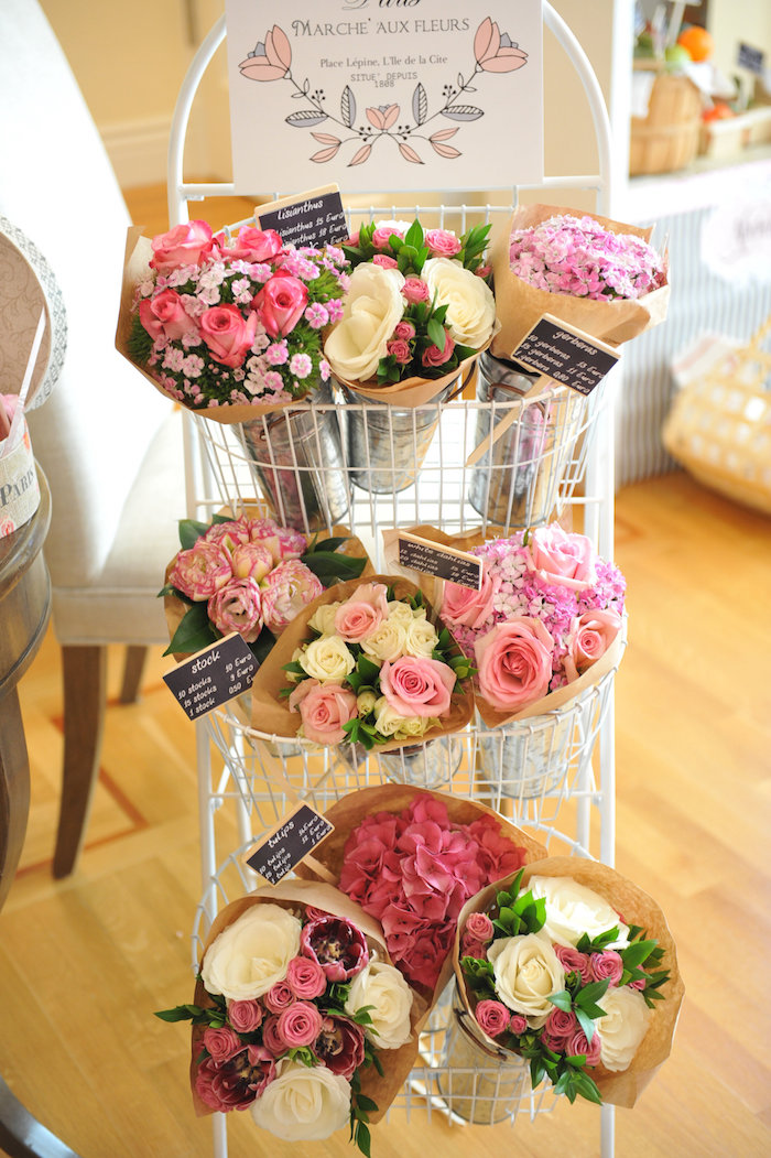 Flower bouquet favors from A Day in Paris Birthday Party on Kara's Party Ideas | KarasPartyIdeas.com (40)