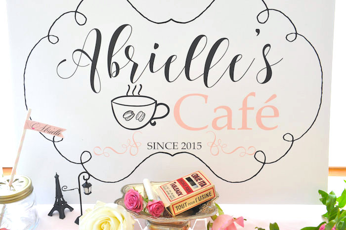 Cafe backdrop food table sign from A Day in Paris Birthday Party on Kara's Party Ideas   KarasPartyIdeas.com (20)