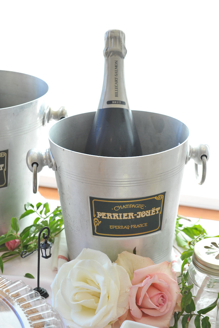 Champagne bottle and ice bucket from A Day in Paris Birthday Party on Kara's Party Ideas | KarasPartyIdeas.com (15)
