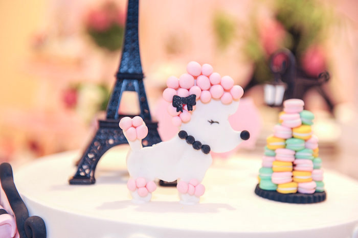 Poodle cake topper from A Day in Paris Birthday Party on Kara's Party Ideas | KarasPartyIdeas.com (6)