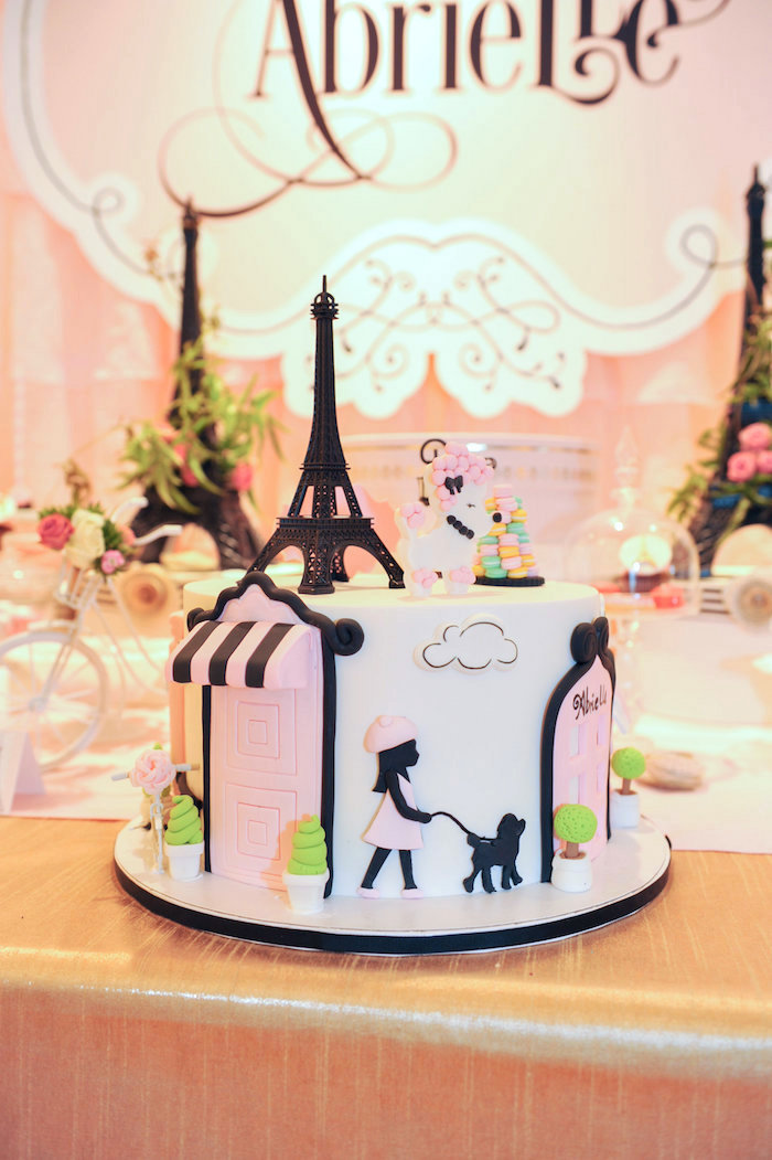 Paris-inspired cake from A Day in Paris Birthday Party on Kara's Party Ideas | KarasPartyIdeas.com (5)
