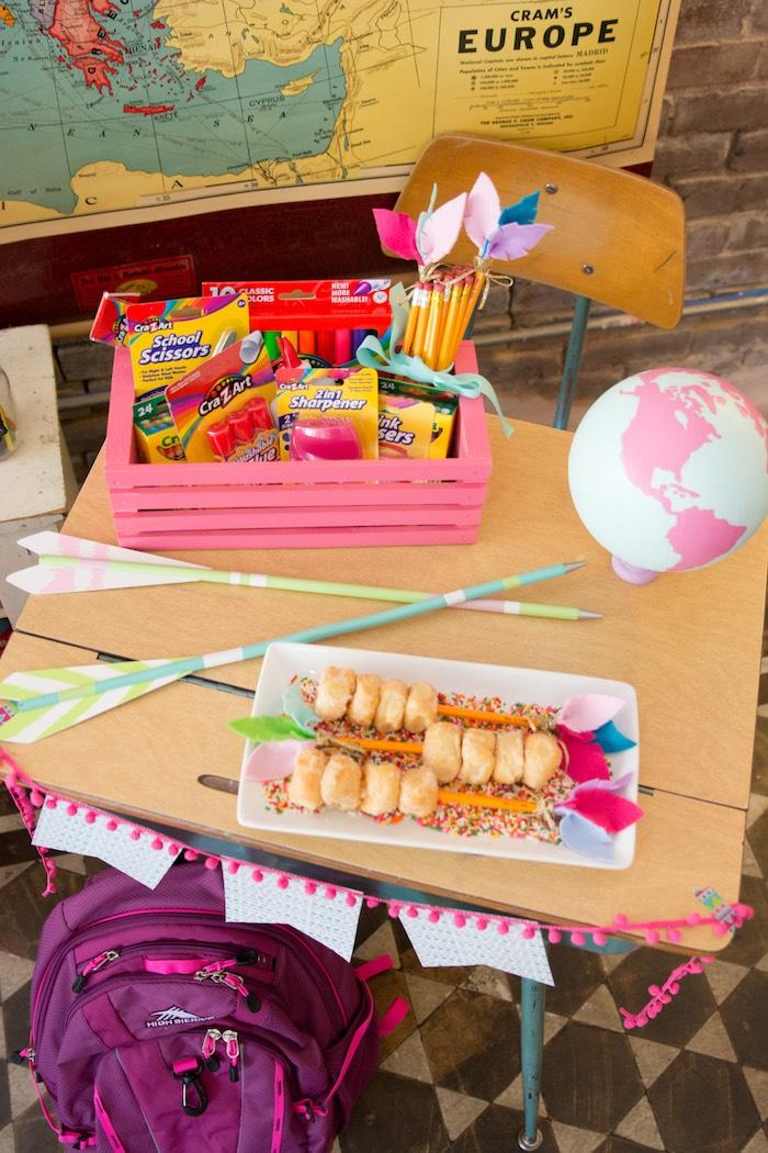 Desk from an Adventure Awaits Back to School Party on Kara's Party Ideas | KarasPartyIdeas.com (19)