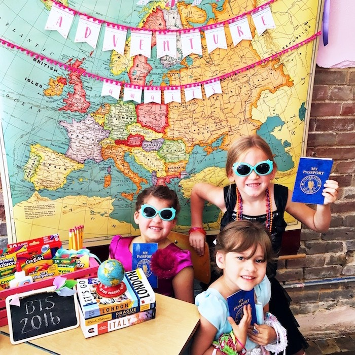 Party girls with passports from an Adventure Awaits Back to School Party on Kara's Party Ideas | KarasPartyIdeas.com (16)