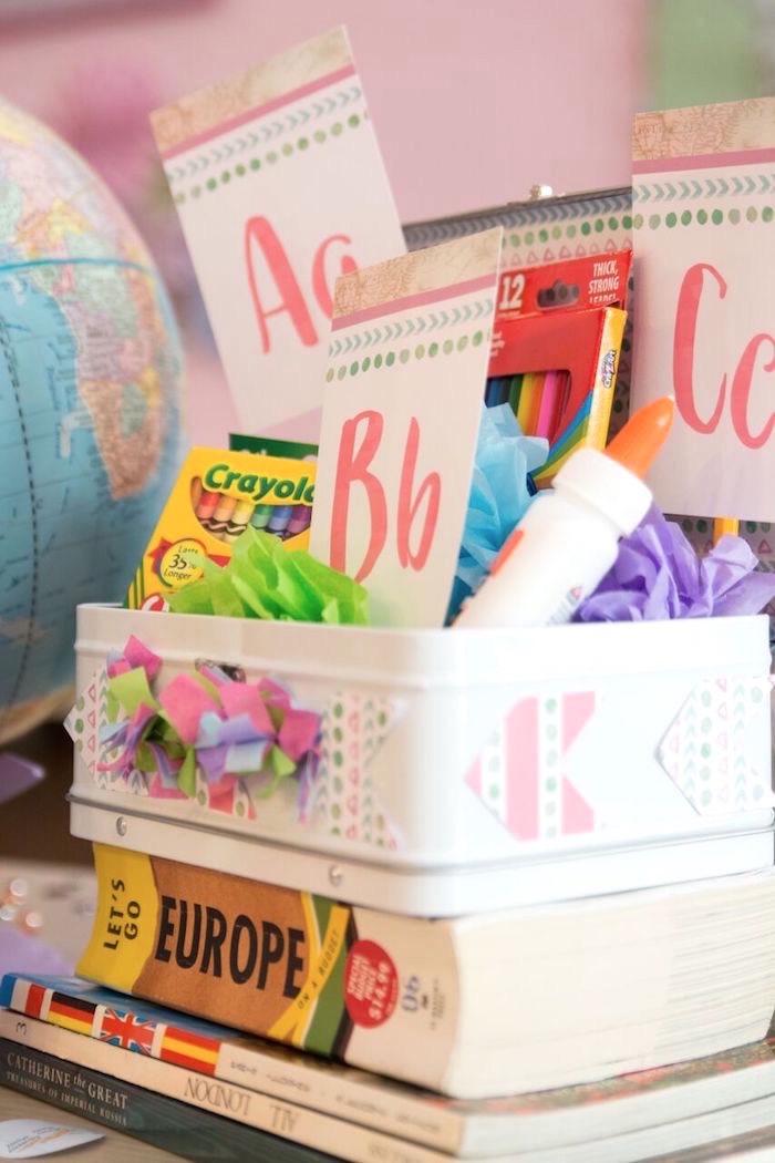 Lunchbox centerpiece from an Adventure Awaits Back to School Party on Kara's Party Ideas | KarasPartyIdeas.com (14)
