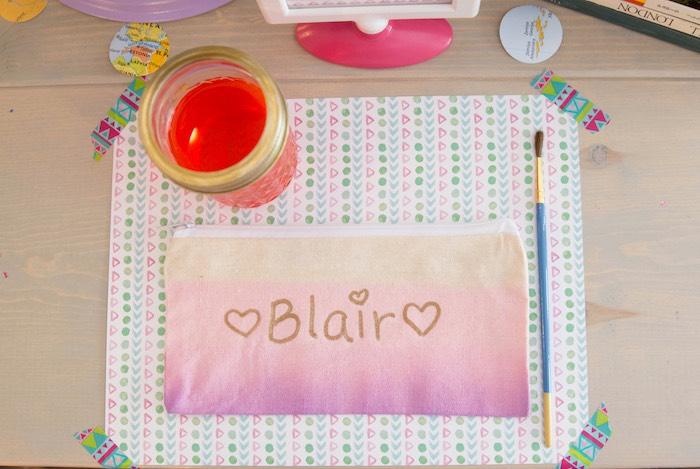 Pencil bag craft from an Adventure Awaits Back to School Party on Kara's Party Ideas | KarasPartyIdeas.com (9)