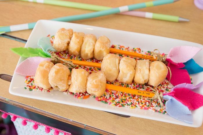 Pencil doughnuts from an Adventure Awaits Back to School Party on Kara's Party Ideas | KarasPartyIdeas.com (7)