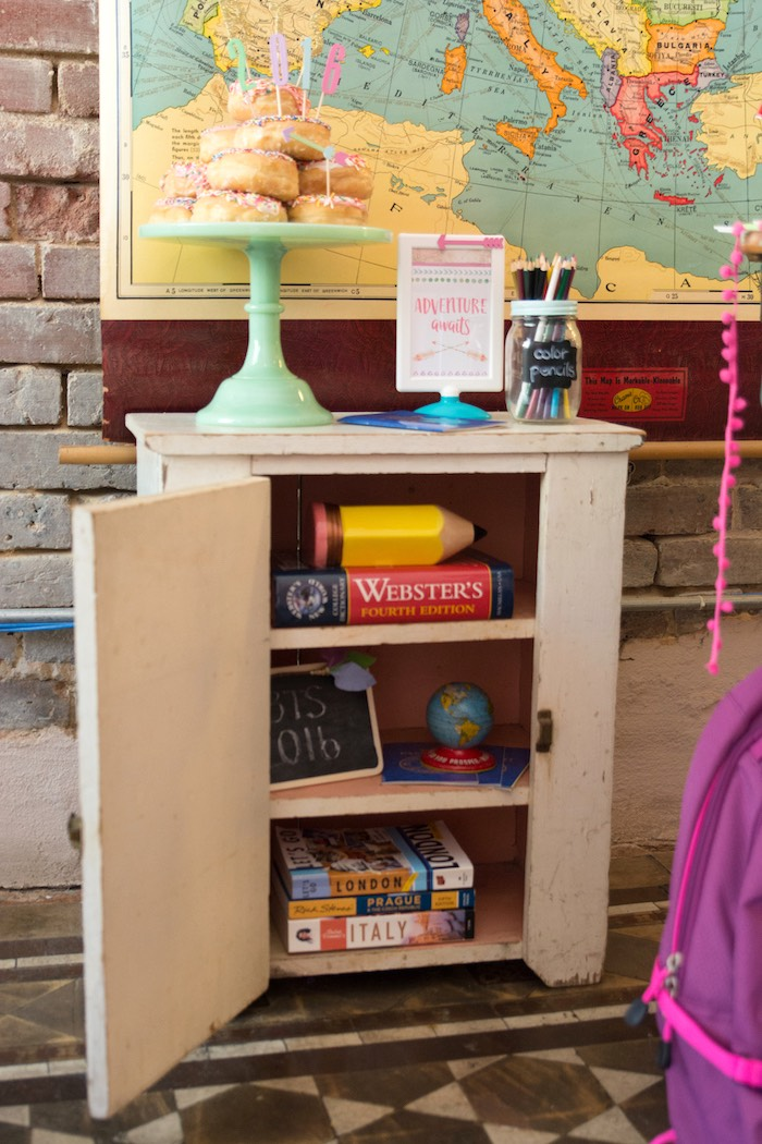 Cabinet from an Adventure Awaits Back to School Party on Kara's Party Ideas | KarasPartyIdeas.com (26)