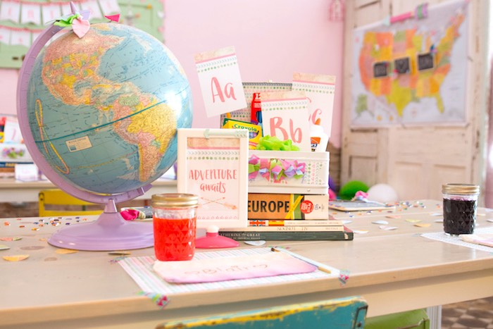 Craft table from an Adventure Awaits Back to School Party on Kara's Party Ideas | KarasPartyIdeas.com (22)