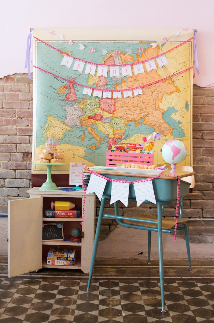 Desk and map from an Adventure Awaits Back to School Party on Kara's Party Ideas | KarasPartyIdeas.com (21)