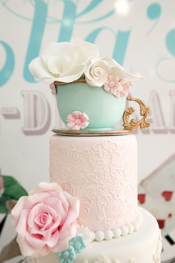 Tea cup cake top from an Alice in Wonderland Birthday Party on Kara's Party Ideas | KarasPartyIdeas.com (35)