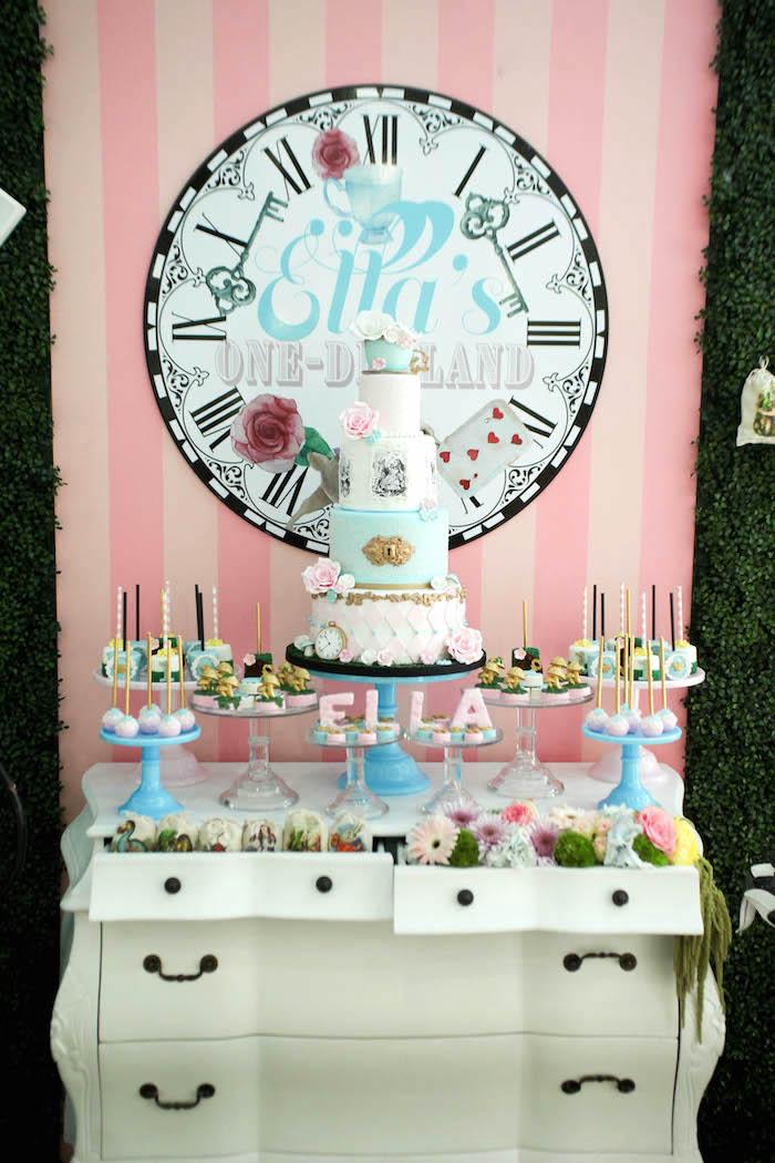 Alice in Wonderland dessert table from an Alice in Wonderland Birthday Party on Kara's Party Ideas | KarasPartyIdeas.com (30)